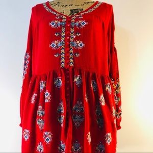 Free people embroidery tunic size L red